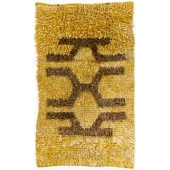 Vintage Shag Pile Mohair Wool Tulu Central Anatolian Rug in Saffron Yellow