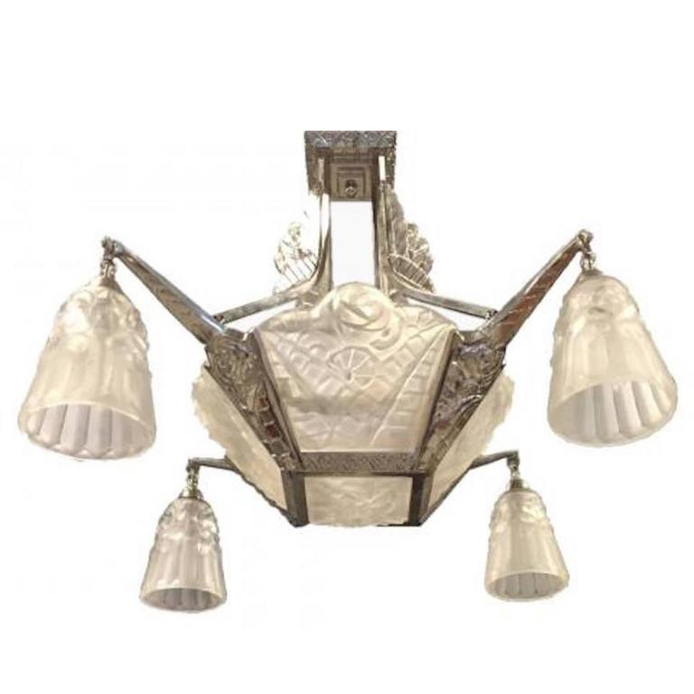 French art deco chandelier by degue for sale at 1stdibs french art deco chandelier signed by degue aloadofball Choice Image