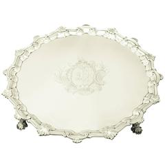 1740s Antique George II Sterling Silver Salver by William Peaston