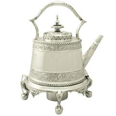 1870s Antique Victorian Sterling Silver Spirit Tea Kettle