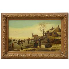 19th Century Dutch Winter Scene Oil on Canvas