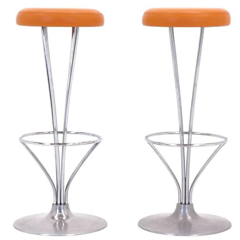 Piet Hein For Fritz Hansen Bar Stools Hermes Leather