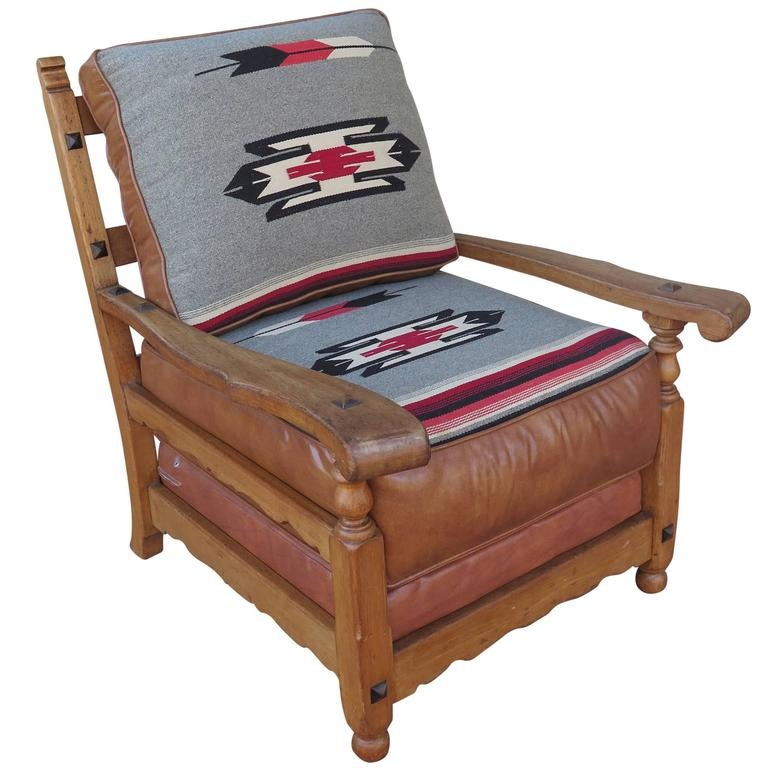 Western Cabin Style Chair With Leather And Chimayo