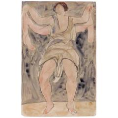 Modernist Watercolored Drawing of Dancer Isadora Duncan, by Abraham Walkowitz