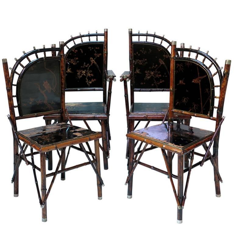 Elegant Set Of 8 Japonisme Dining Chairs France Circa