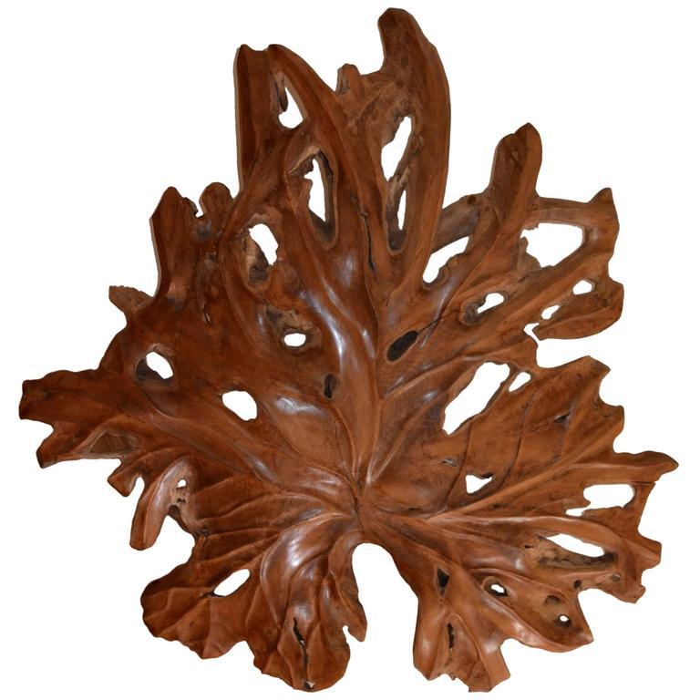 Andrianna Shamaris Giant Organic Teak Wood Leaf Sculpture For Sale