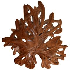 Andrianna Shamaris Giant Organic Teak Wood Leaf Sculpture