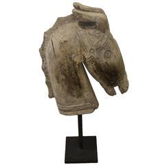 Hand-Carved Teak Wood Horse Sculpture