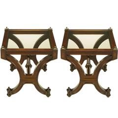 Pair of Mahogany and Glass Empire Style End Tables with Brass Finials