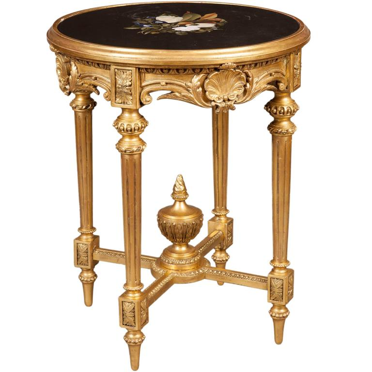 English Giltwood and Floral Inlaid Stone Occasional Table