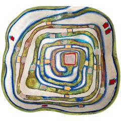 "Hundertwasser Modern Ceramic Fruit Bowl, ""Spiralental,"" for Rosenthal, 1983"