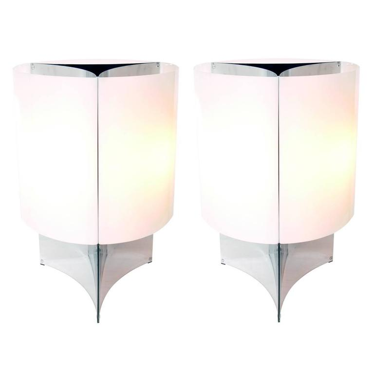 Pair Of Large Scale Lamps By Massimo Vignelli For Arteluce For Sale At 1stdibs
