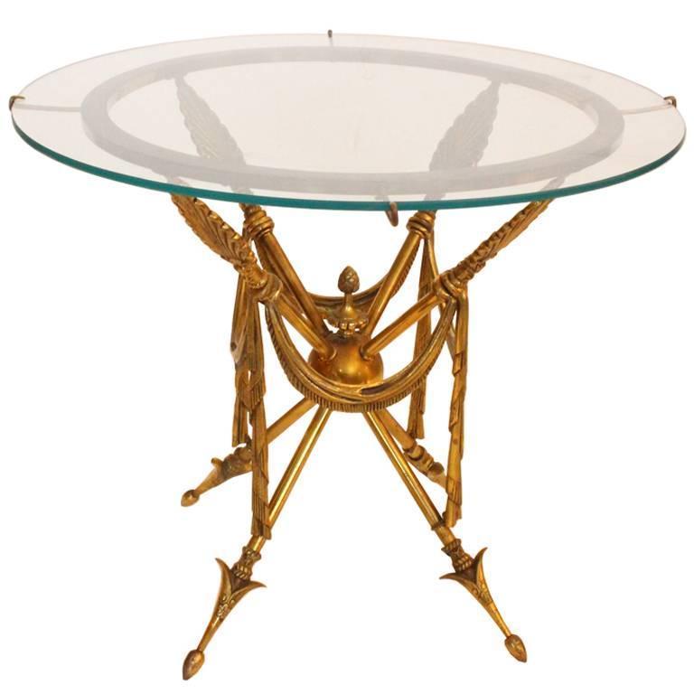 1970s Gueridon Style Brass Arrow Side Table