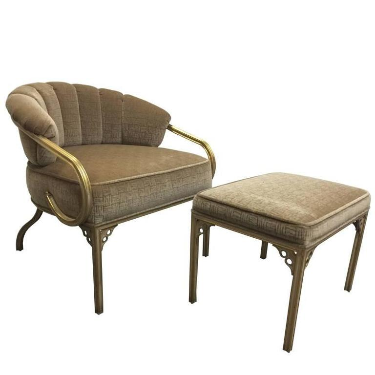 """Cymbal"" Brass Chair and Ottoman by John Van Koert"