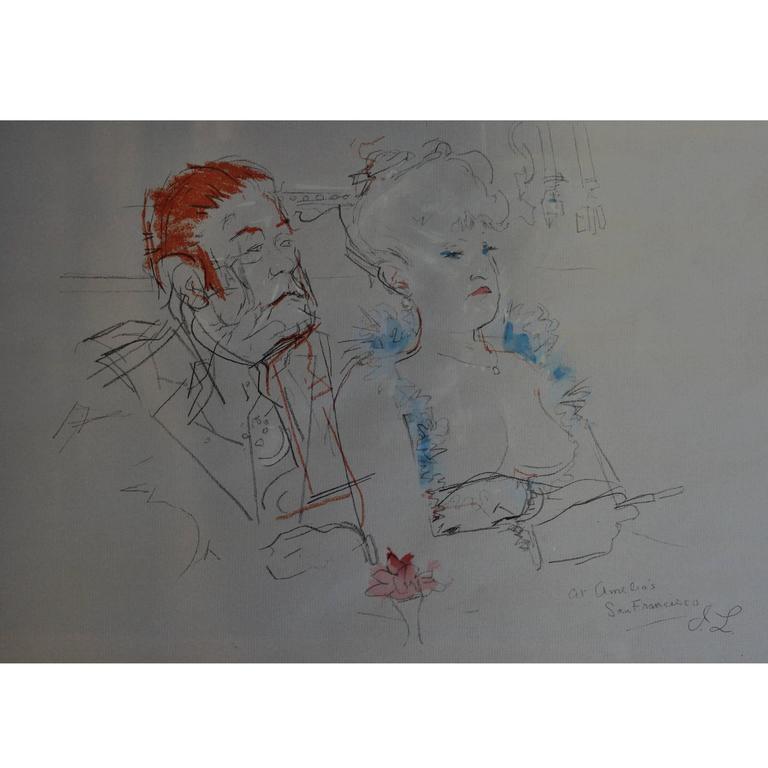 Jack Levine Painting 'At Amelios'