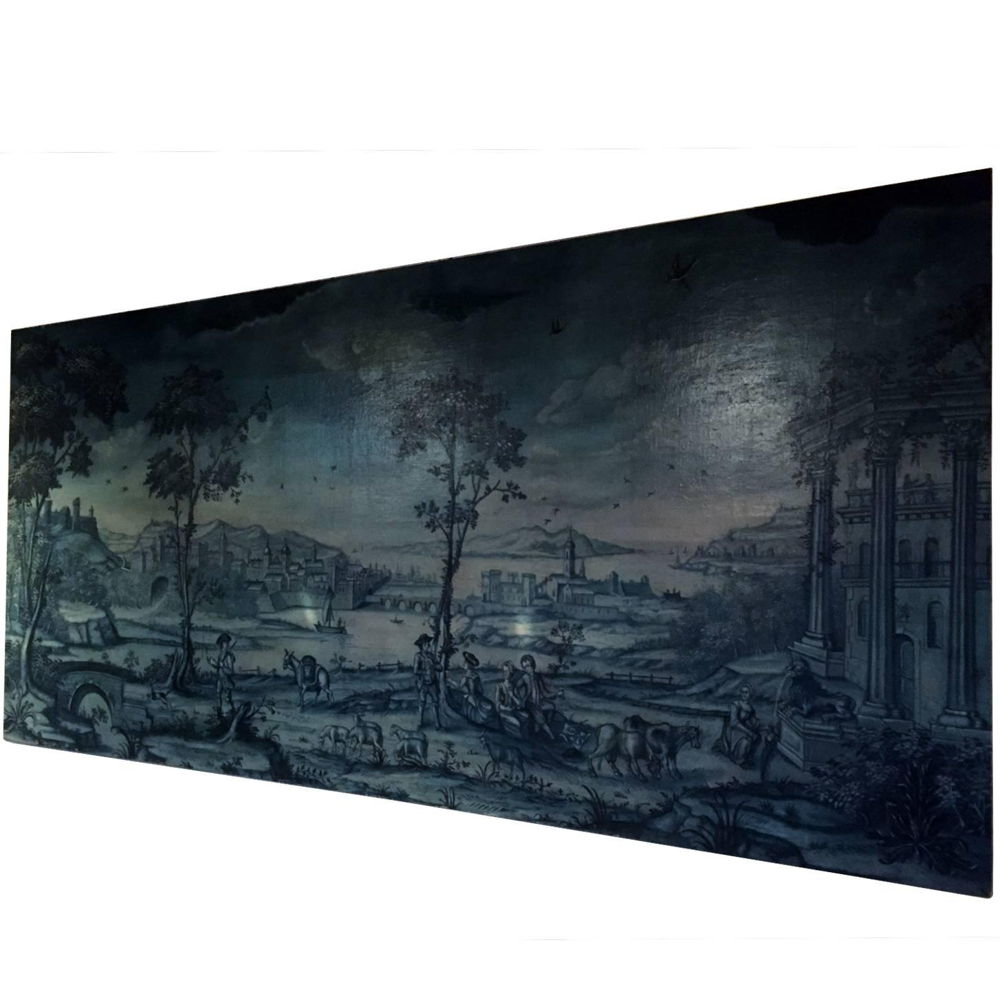 19th Century Panoramic French Pastoral Oil Painting