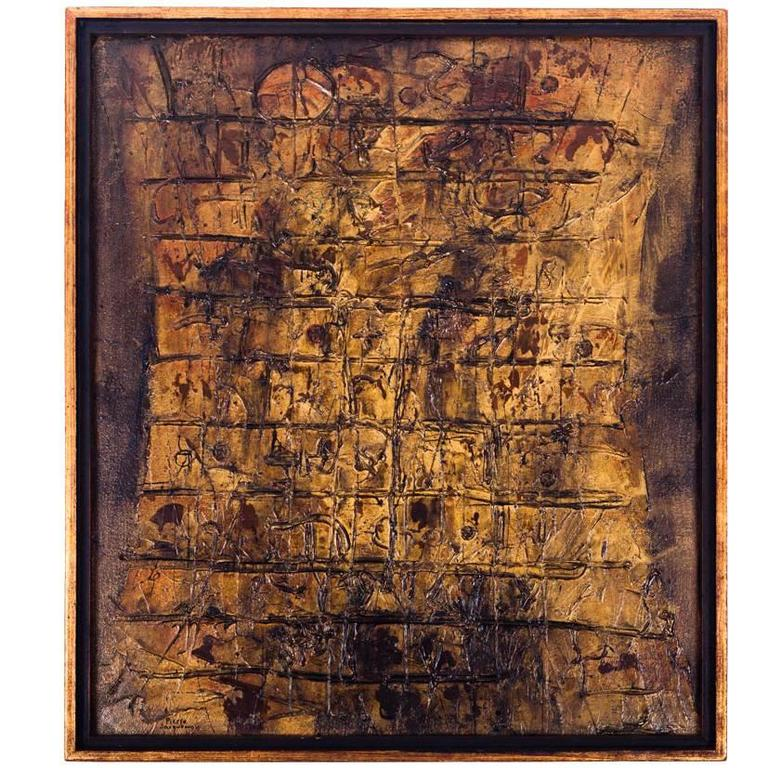 Abstract Oil Painting by Pierre Jacquemon, Gold Tones and Textures, 1950s