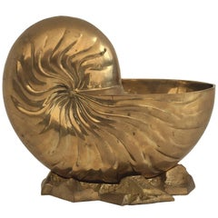 Brass Hollywood Regeancy Nautilus Shell Planter