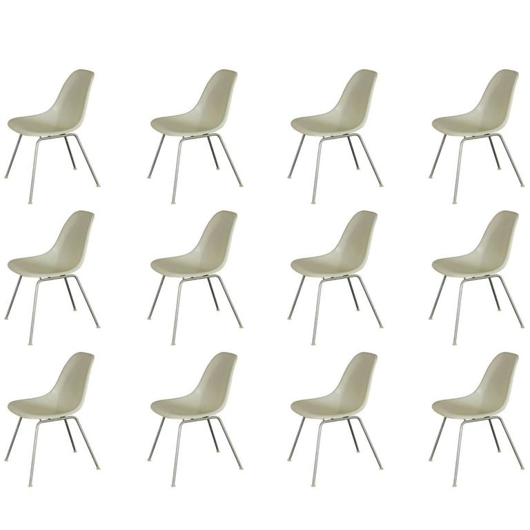 Charles and Ray Eames White Shell Chairs for Herman Miller