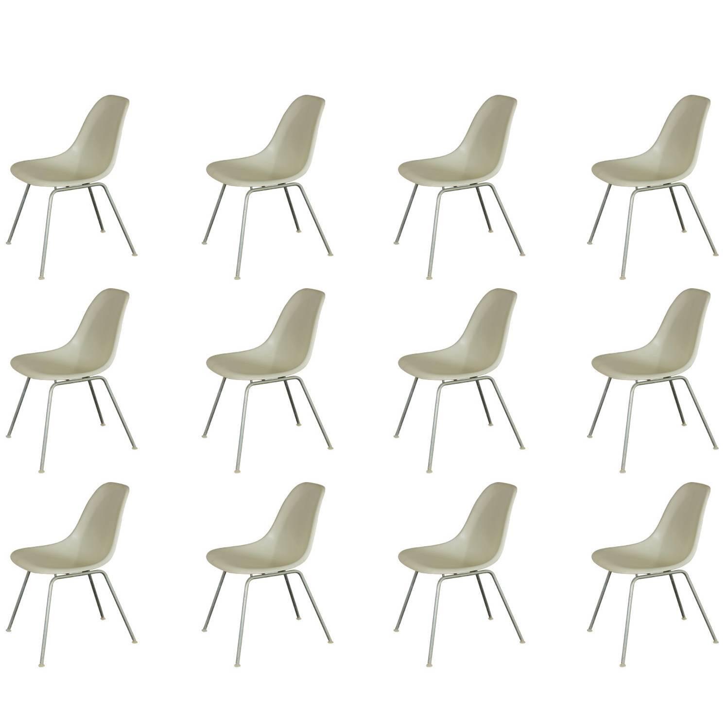Eames for Herman Miller White Fiberglass Shell Chairs