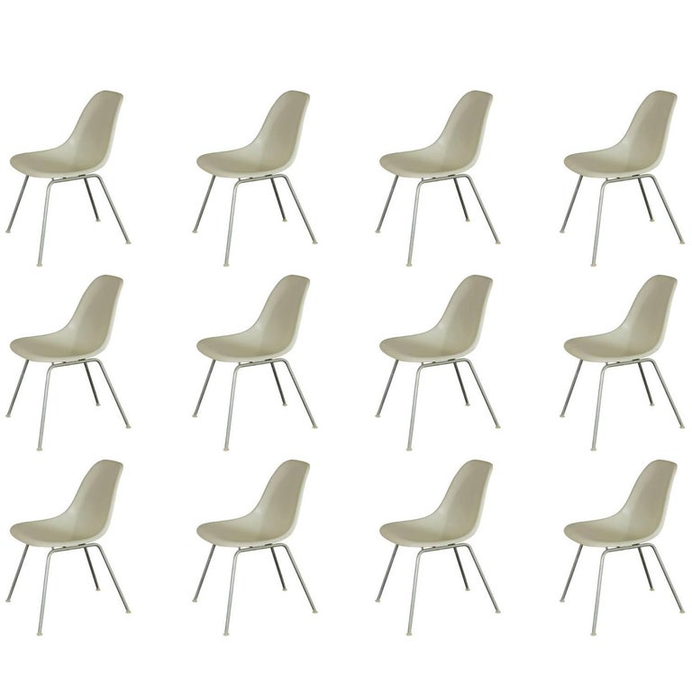 Eames for Herman Miller White Fiberglass Shell Chairs  For Sale