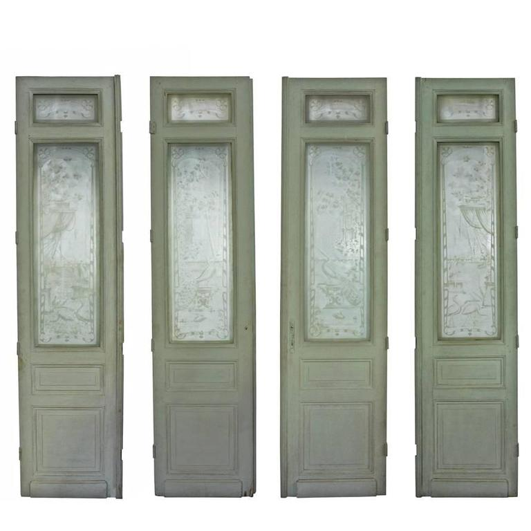 19th Century European Etched Glass Doors At 1stdibs