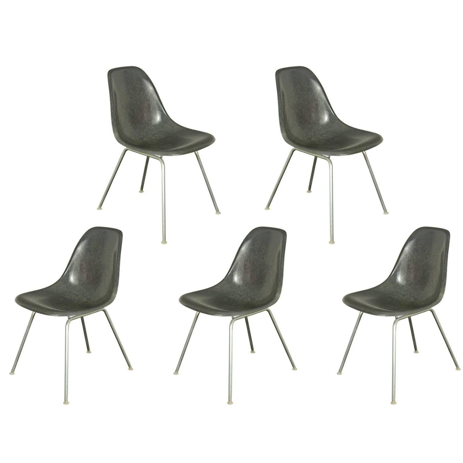 Charles and Ray Eames for Herman Miller Gray Shell Chairs For Sale