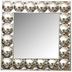 Panton Style Square Silvered Plexiglass Bubble Mirror with Mirror