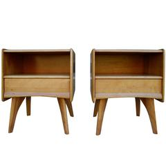 Solid Maple Modern Atomic Age NightStands/Bedside Tables by Heywood-Wakefield