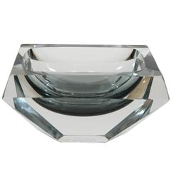 Faceted Grey-Blue Sommerso Murano Dish