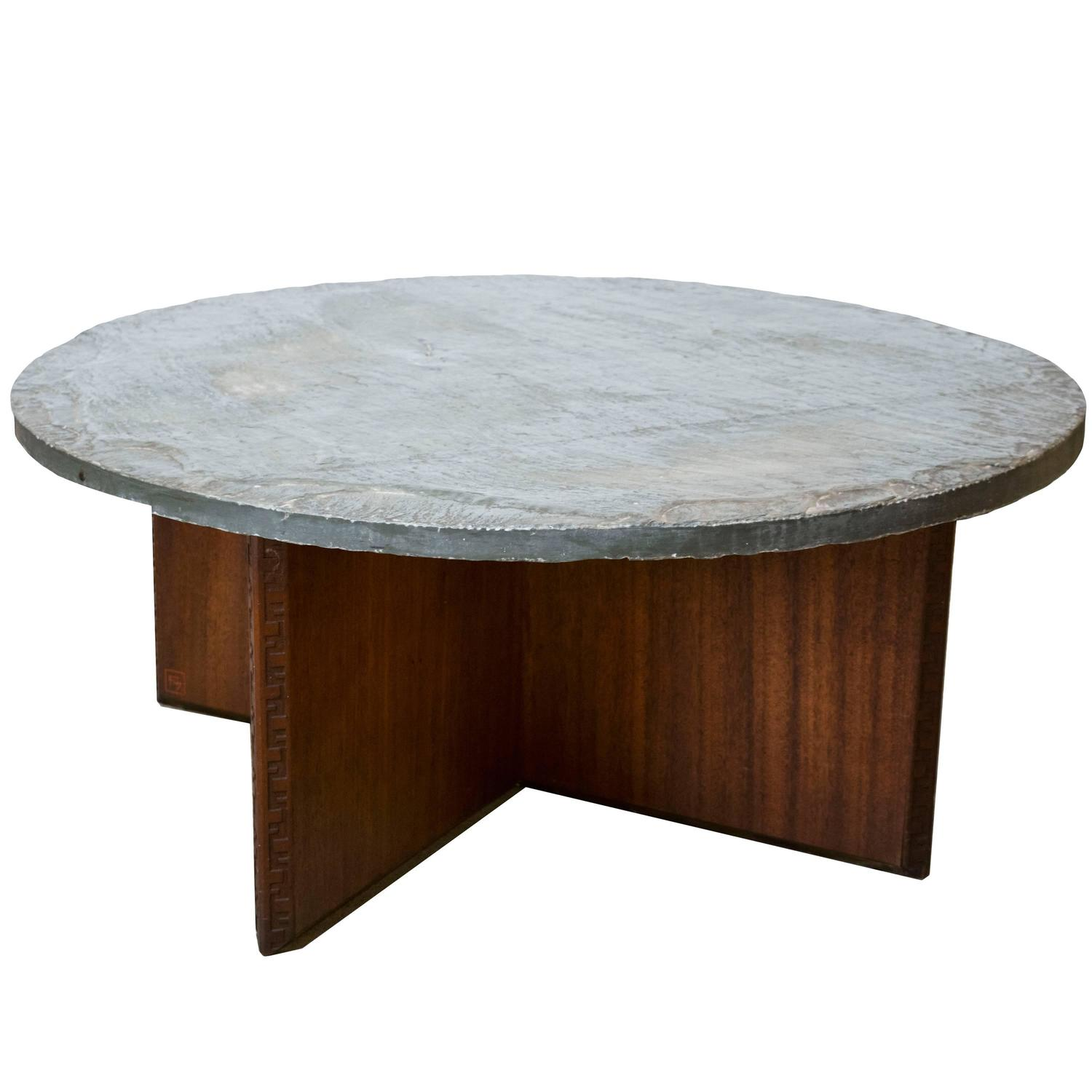 Frank Lloyd Wright For Henredon For Heritage Coffee Table With Slate Top At  1stdibs