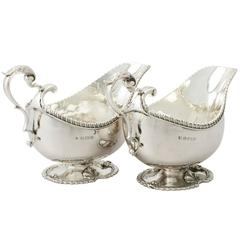 Antique Sterling Silver Sauceboats or Gravy Boats in Regency Style, George V