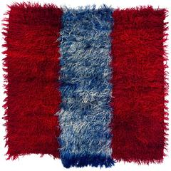 "Red and Blue Angora Mohair ""Tulu"" Rug"
