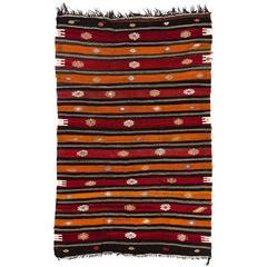 Banded Nomadic Anatolian Kilim, Flat-weave Rug