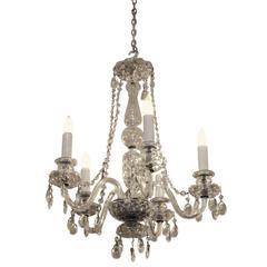 1940s Restored Waterford Five-Arm Chandelier with Czech Crystals