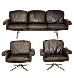 Vintage De Sede DS 31 Leather Sofa and Swivel Armchairs, Switzerland 1970s