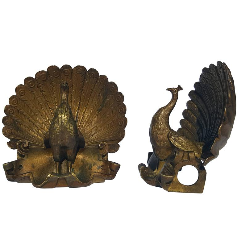 Cast Brass French Peacock Curtain Rod Holders For Sale