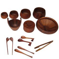 Set of Vintage Jens Quistgaard for Dansk Teak Bowls and Salad Spoons