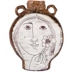 Clay Vessel by Mabel Santos, White and Brown with Face and Hand Holding a Flower