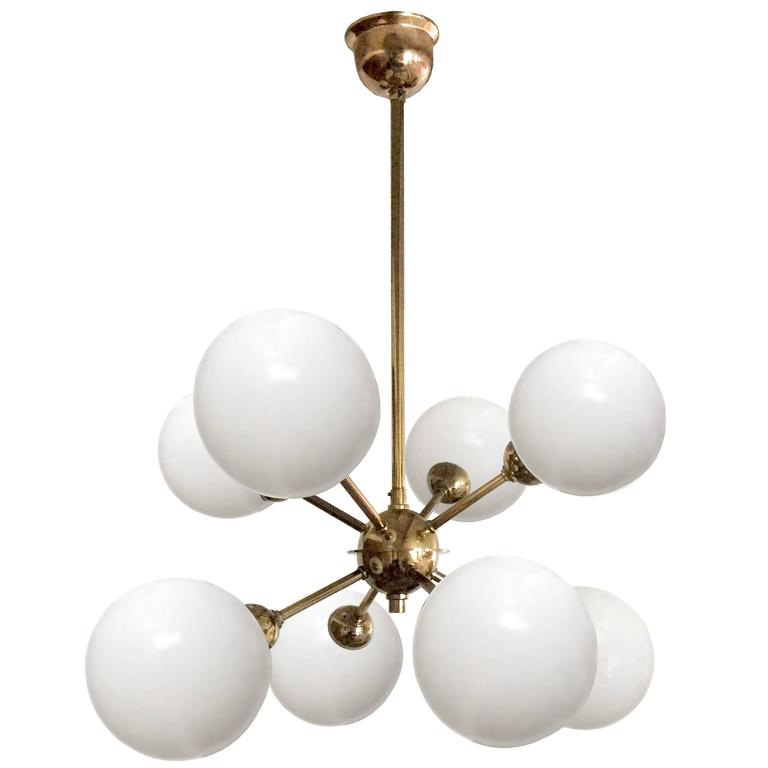 German Brass and Glass Sputnik Chandelier 'Two Available'