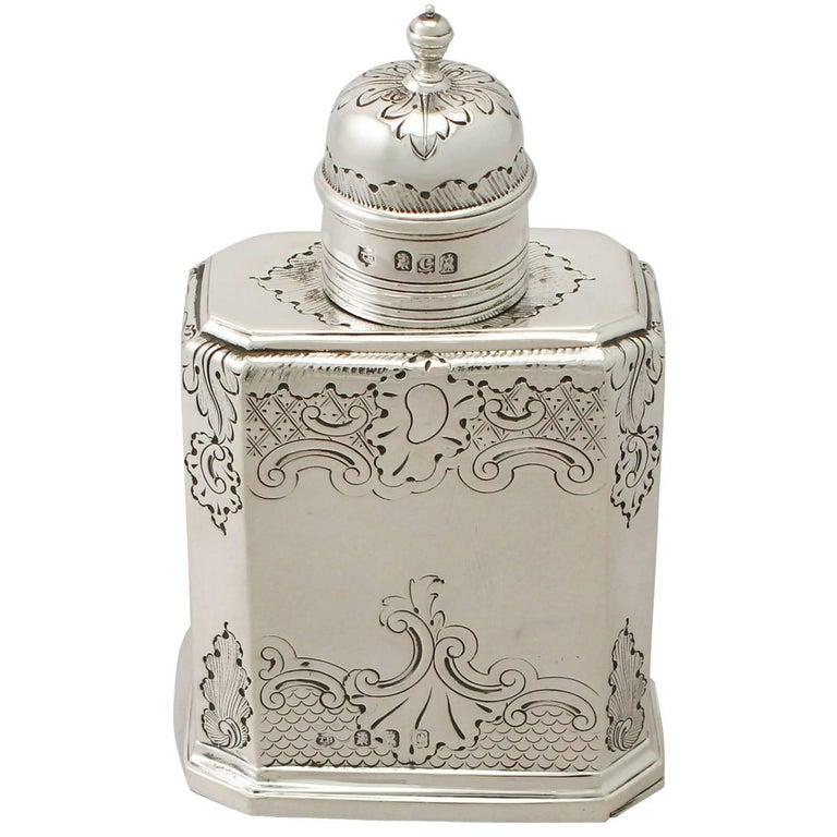 Britannia Standard Silver Tea Caddy, George I Style, Antique Victorian For Sale
