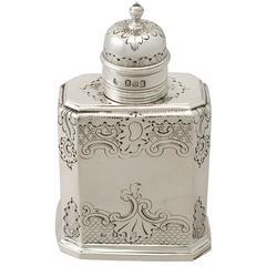 Britannia Standard Silver Tea Caddy, George I Style, Antique Victorian