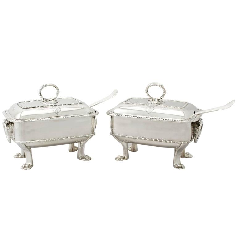 Georgian Sterling Silver Sauce Tureens with Ladles