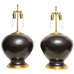 Pair of Hand-Thrown American Ceramic Studio Vases