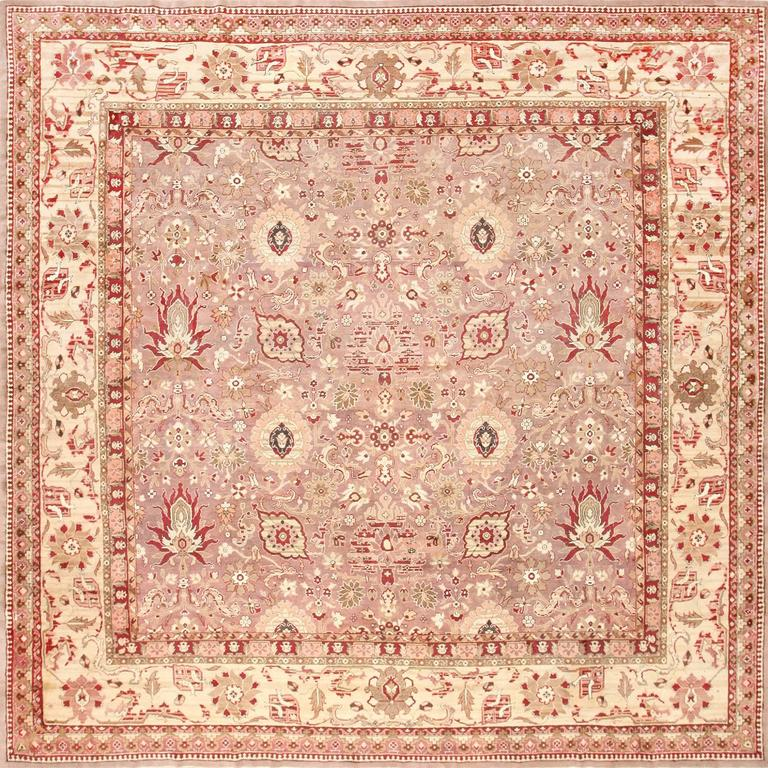 Large Square Antique Indian Agra Rug For