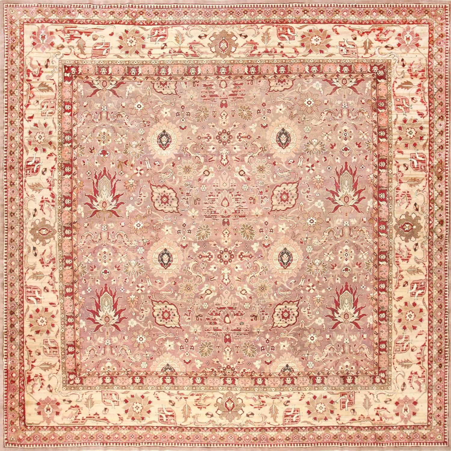 Large Square Antique Indian Agra Rug For Sale At 1stdibs