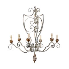French Painted Iron Six-Light Chandelier