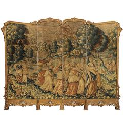 17th Century Flemish Tapestry in a French 19th Century Louis XV Style Screen