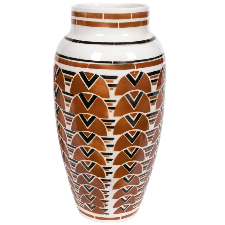 French Art Deco Period Ceramic Vase by Keller & Guerin Luneville, circa 1920s 1