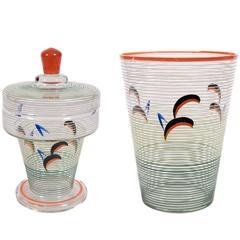 Set of Hand-Painted Czechoslovakian Art Deco Period Glass Vessels